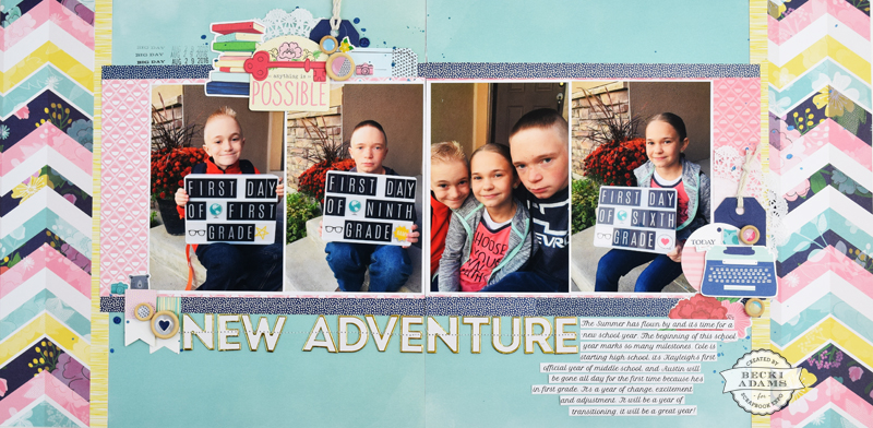 Double Page Multi Photo Layout with Video Tutorial by @jbckadams for @scrapbookexpo #ssbe2017 #beckiAdams #scrapbooking
