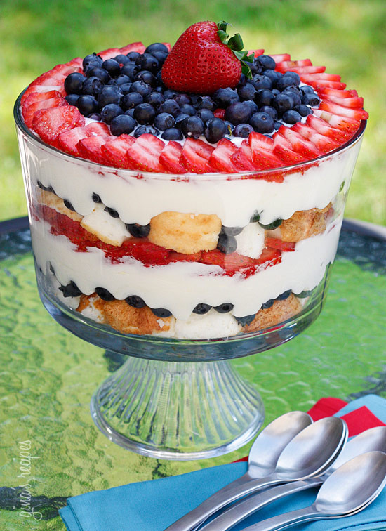 Red White & Blueberry Trifle