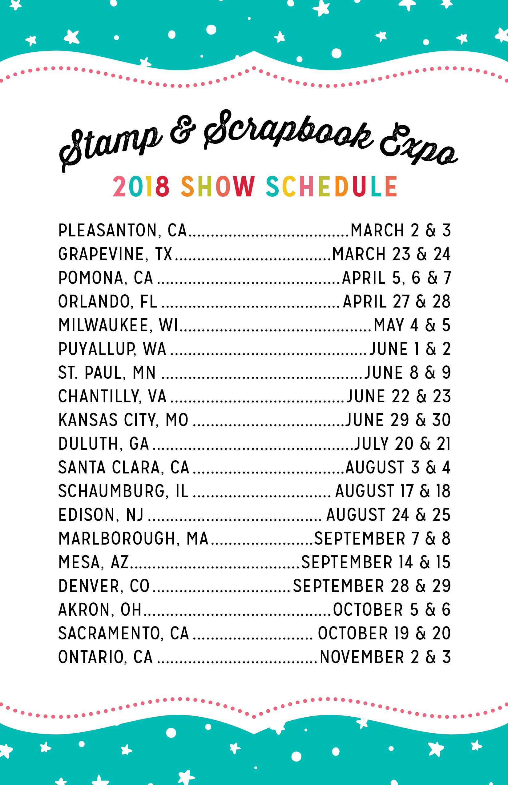 2018 Show Schedule
