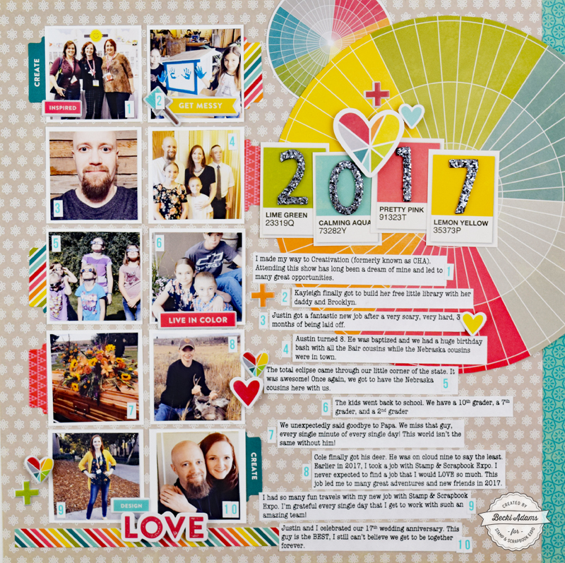 Year in Review Layout by Becki Adams for @scrapbookexpo #ssbe2018 #ssbeblog #scrapbooking