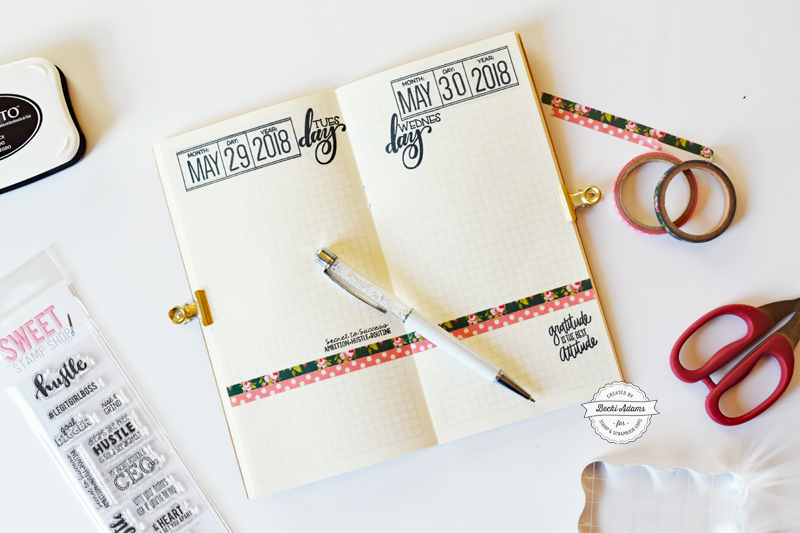 Stamping in Travelers Notebooks by Becki Adams for Wandering Planners on the @scrapbookexpo blog #ssbe2018 #ssbeblog #wanderingplanners #plannergirl #travelersnotebook