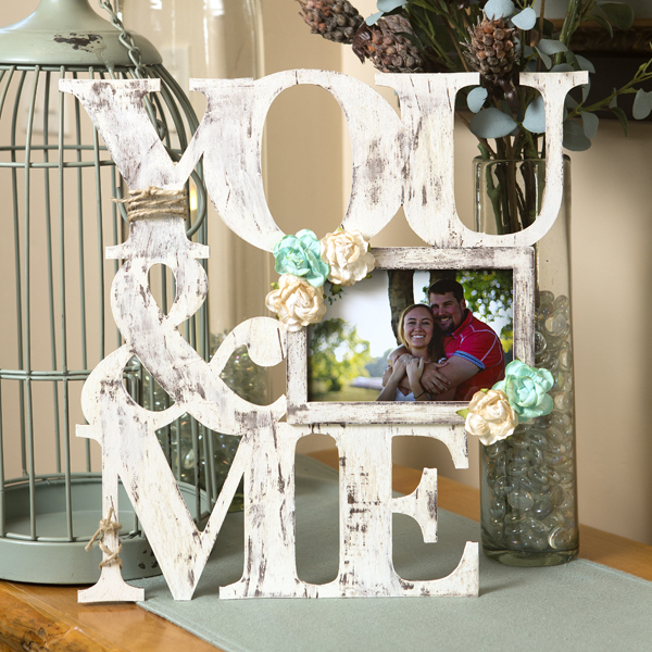 _You & Me Distressed Word Frame