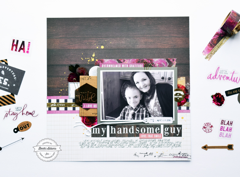 Scrapbooking with the Heidi Swapp Hawthorne Collection by Becki Adams for @scrapbookexpo #ssbe2018 #ssbeblog #heidiswapp #Hawthorne #scrapbooking #scrapbookpage #scrapbook @heidiswapp