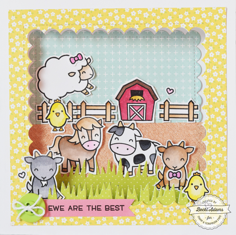 Barnyard Animal Card by Becki Adams for @scrapbookexpo #SSBE2018 #ssbeblog #stamping #cardmaking #handmadecard #lawnfawn