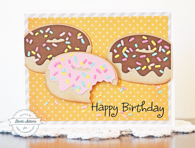 How to make a donut birthday card by Becki Adams for @scrapbookexpo #ssbe2018 #ssbeblog #thestampsoflife #handmadecards #birthdaycard #cardmaking