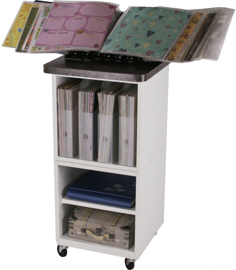 Legacy Woodcrafters Cart two open cubes with one shelf, top, and scrap rack