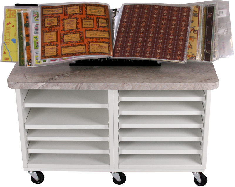 Cart-two-wide-with-two-open-cubes,-nine-shelves,-top,-and-scrap-rack