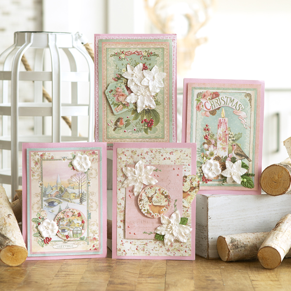 _Pink Christmas Cards Featuring Stamperia
