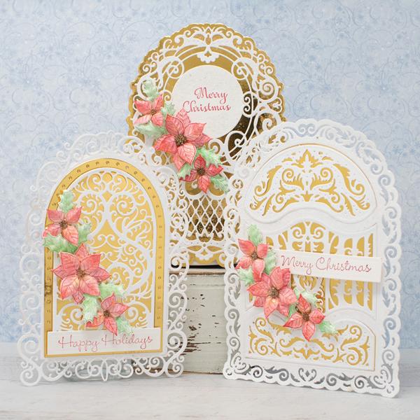 _Glistening Christmas Poinsettia Cards